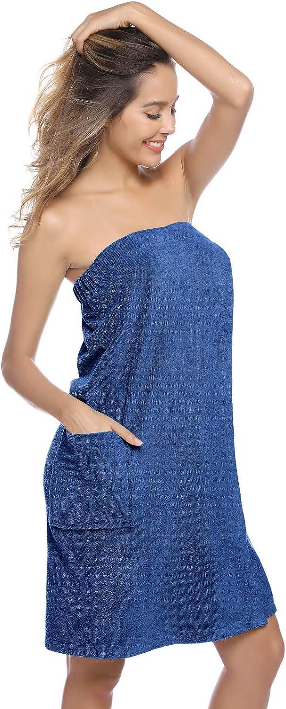 Zexxxy par/éo de Sauna pour Femme,Serviette de Bain,/écharpe,/Élastique,Poche Bleu XL