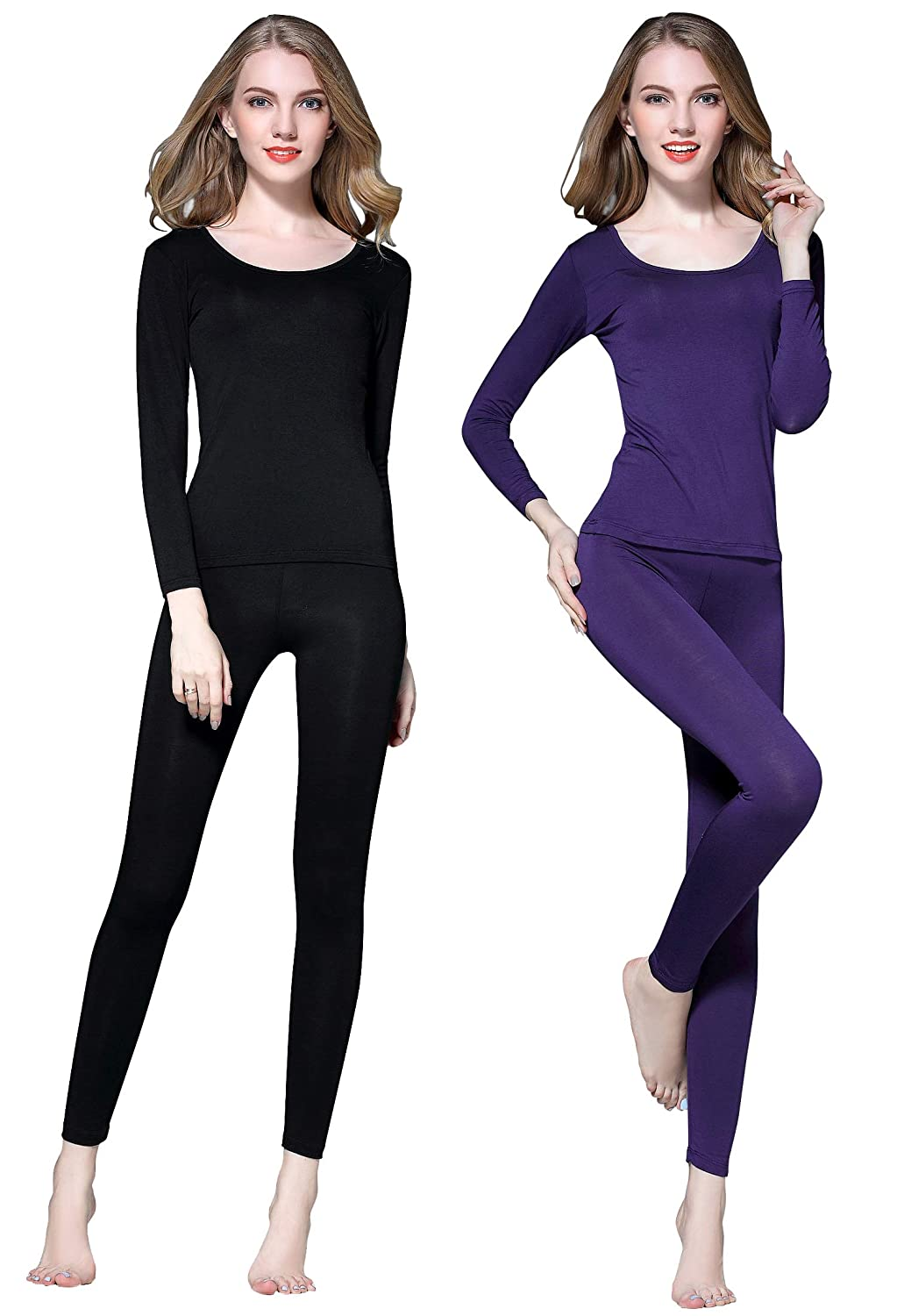Vinconie Womens Thermal Underwear Set Scoop Neck Top & Leggings Long Johns 9960