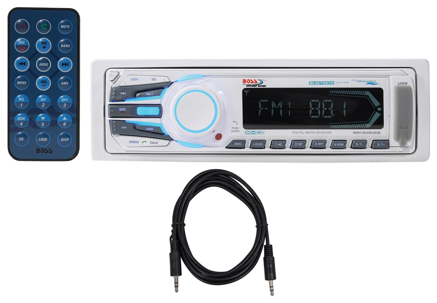 Boss MR1308UAB Single-Din Marine Receiver+Bluetooth, AM/FM, Aux, SD+Remote+Cable