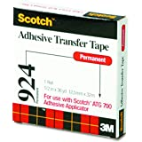 Scotch ATG Adhesive Transfer Tape 924 Clear, 0.50 in x 36 yd 2.0 mil (Pack of 1)
