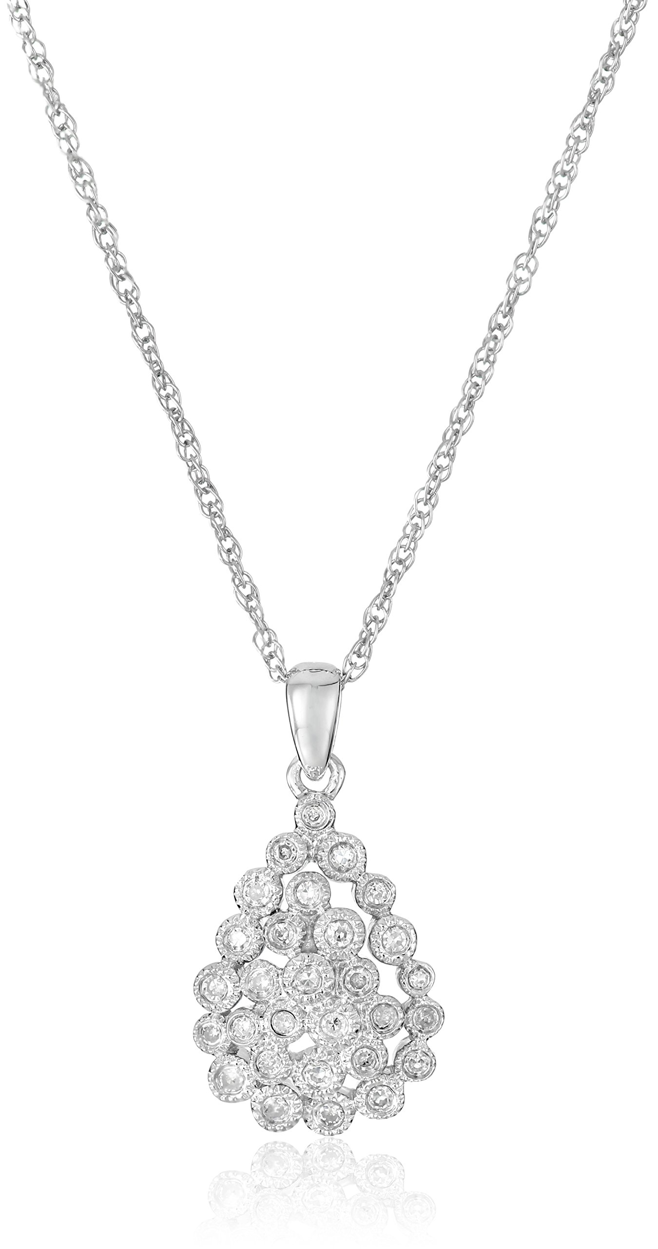 "Sterling Silver Caviar Diamond Pendant Necklace (1/10cttw, I-J Color, I2-I3 Clarity), 18"""