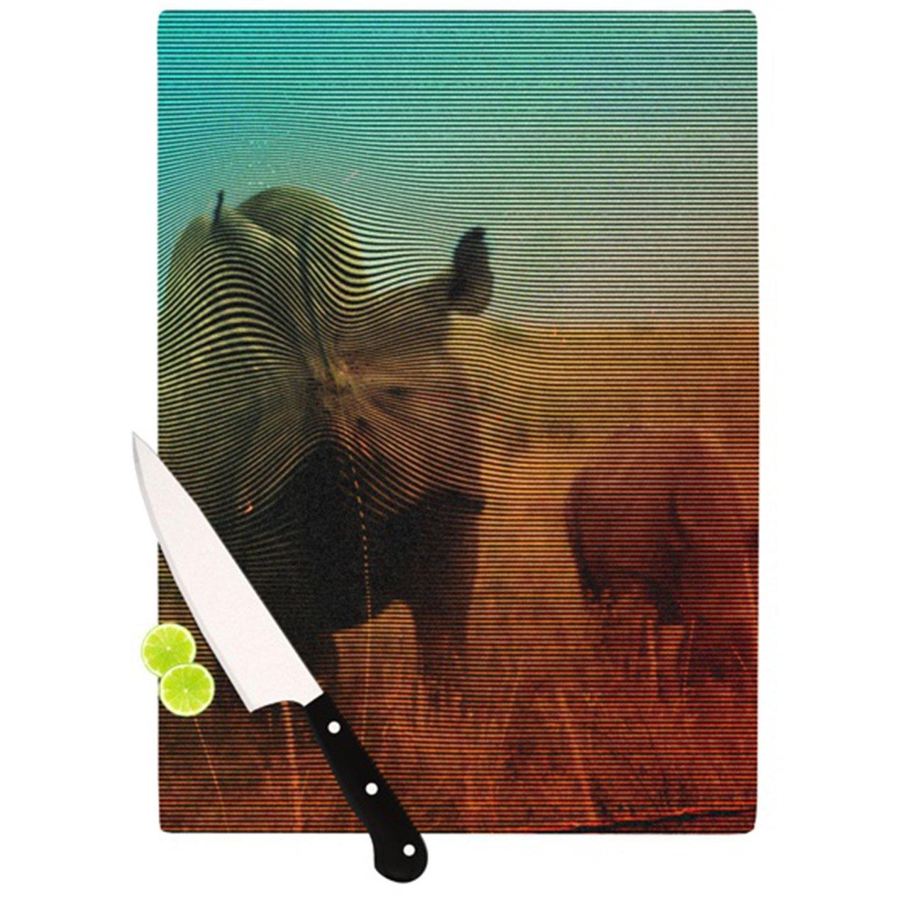 11.5 by 8.25-Inch Kess InHouse Danny Ivan Abstract Rhino Cutting Board