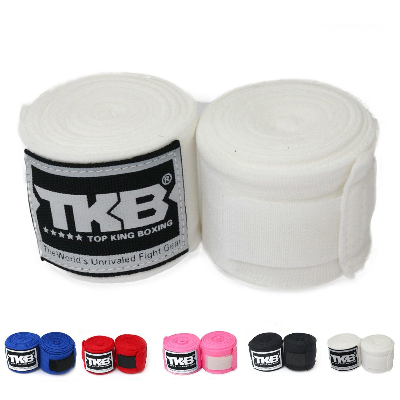 Top KingコットンHandwraps Hand Wrapsカラーブラックブルーレッドホワイトピンクタイのタイ式、ボクシング、キックボクシング、MMA ホワイト