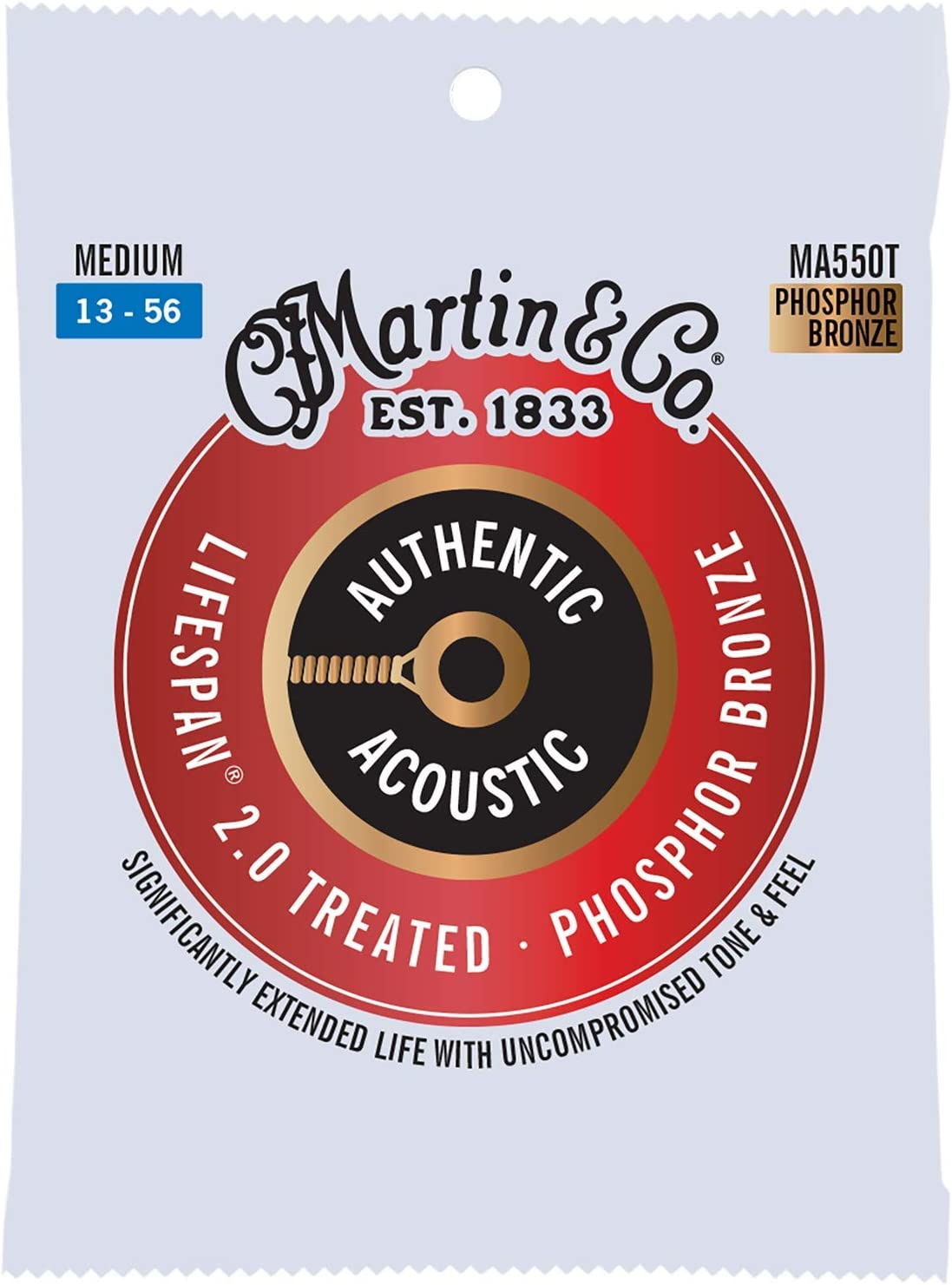 Martin Guitar Authentic Acoustic Lifespan 2.0 MA550T, 92/8 Phosphor Bronze, Treated Medium-Gauge Strings
