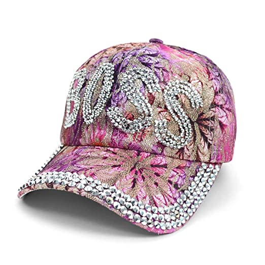 ffecb1e4a0e25 Bling BOSS Embellished Adjustable Baseball CapHat~Purple Pink Floral ...