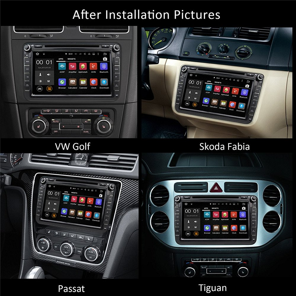 Car Stereo Touch Screen Bluetooth GPS DVD Double Din In Dash Sat Navigation Vehicle Head Unit for VW Volkswagen Jetta Golf Passat Tiguan T5 VW Skoda Seat Hands Free Call Free Map Backup Camera by Saiyeeka (Image #3)