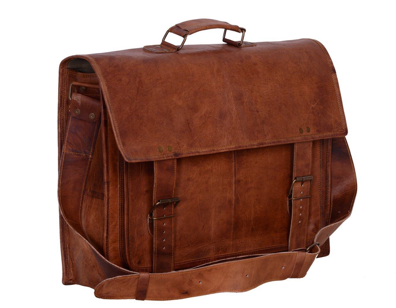Tuzech Real Leather Messenger Bags Laptop Briefcase Satchel Mens Bag Fits Laptop Upto 15.6 inches The Immart