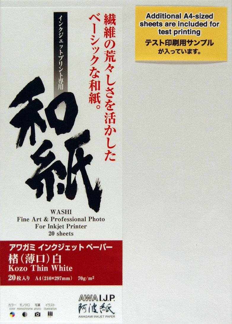 Awagami Kozo Thin White Fine Art Inkjet Paper, 70gsm A3 (11.69'' x 16.54'') 10 Sheets