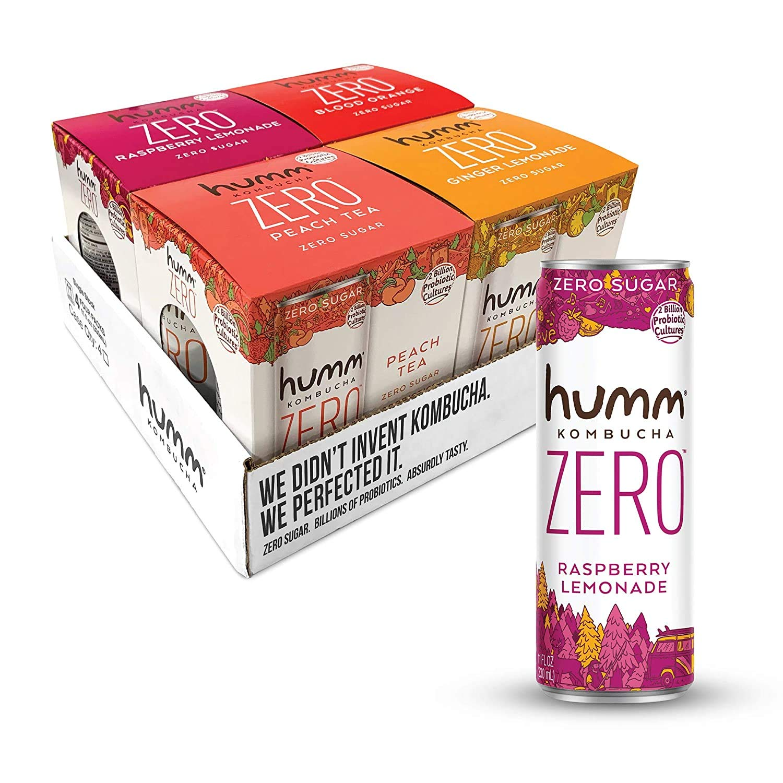 Humm Kombucha Zero Sugar Variety Pack - Live and Raw Kombucha - No Refrigeration Needed - Vegan, Gluten-Free - Variety Pack 11oz Cans (64 Pack)