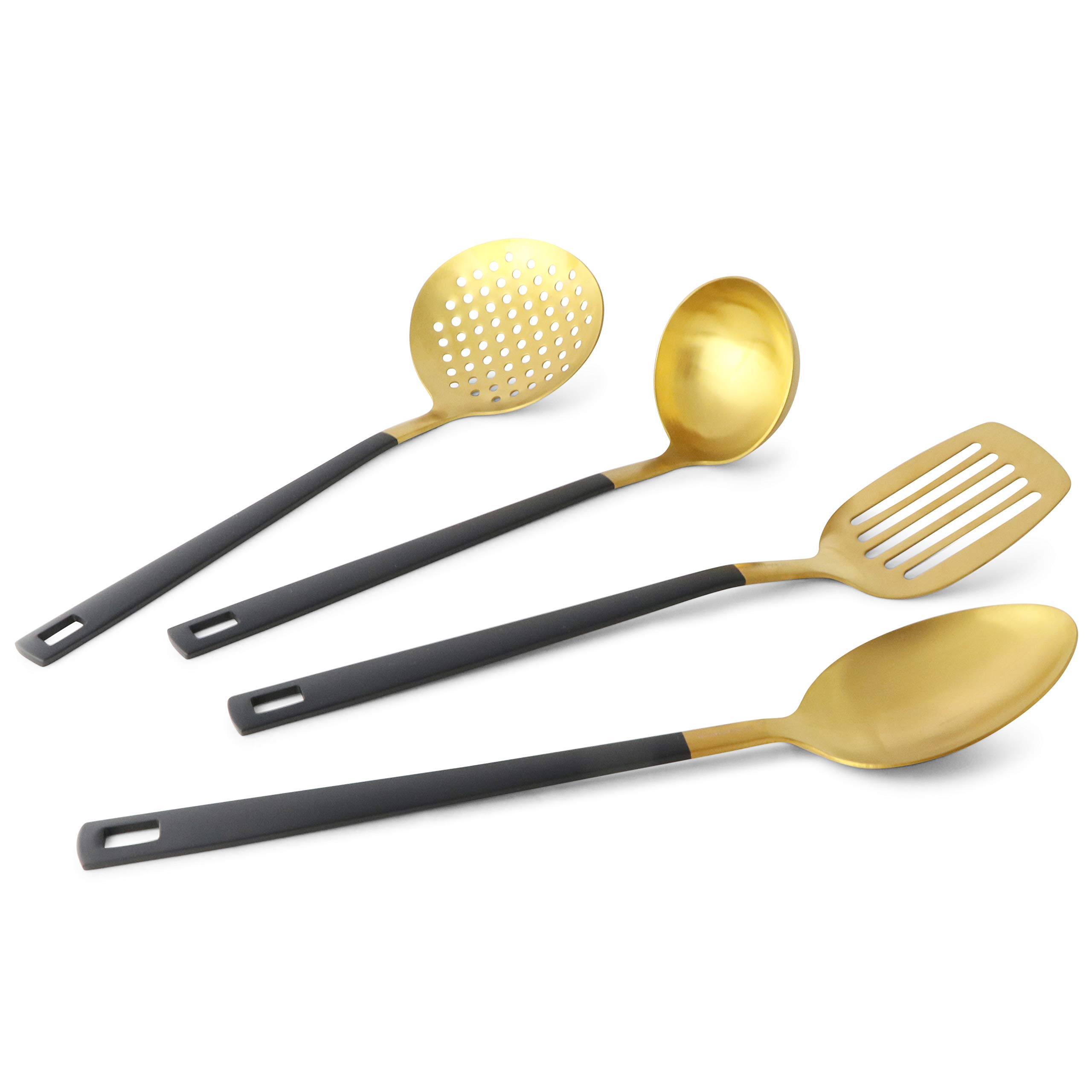 Black and Gold Utensil Set for Cooking and Serving, Stainless Steel Serving Utensils include - Black and Gold Metal Ladle, Skimmer, Serving Spoon, Turner: Gold Serving Sets by STYLED SETTINGS (Image #4)