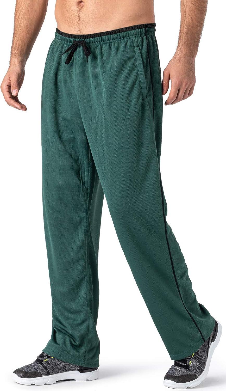 TACVASEN Mens Lightweight Tracksuit Bottoms Jogger Comfortable Open Hem Jogging Trousers with Zip Pockets