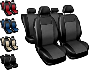 Premium Kunstleder Sitzbezüge Sitzbezug Schonbezüge für Hyundai ix20 Grau Set
