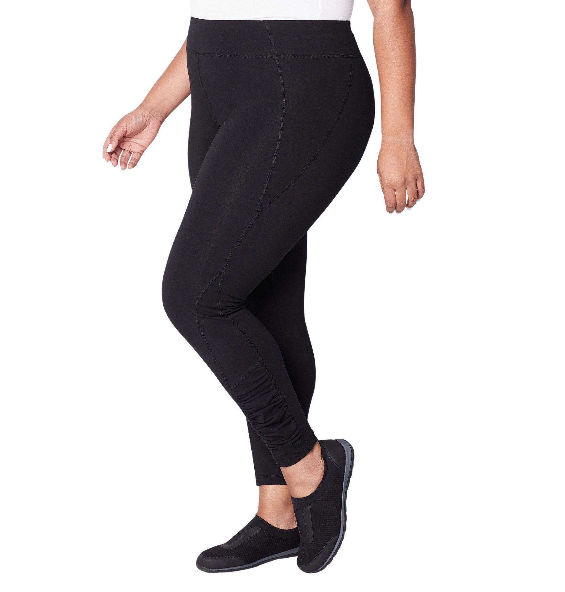Avenue Women's Ruched Pima Cotton Legging, 14/16 Black