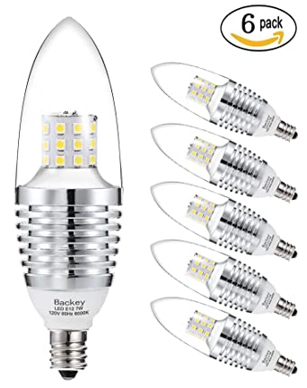 Backey E12 LED Bulbs Candelabra LED Light Bulbs 7W, 60 Watt Light ...