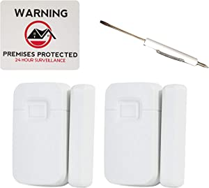 Interlogix - 2 Micro Crystal Door/Window Sensor, White (TX-1012-01-1) Bundled with 1 White Screwdriver, and 1 Premises Protected Warning Sticker - 4 Items