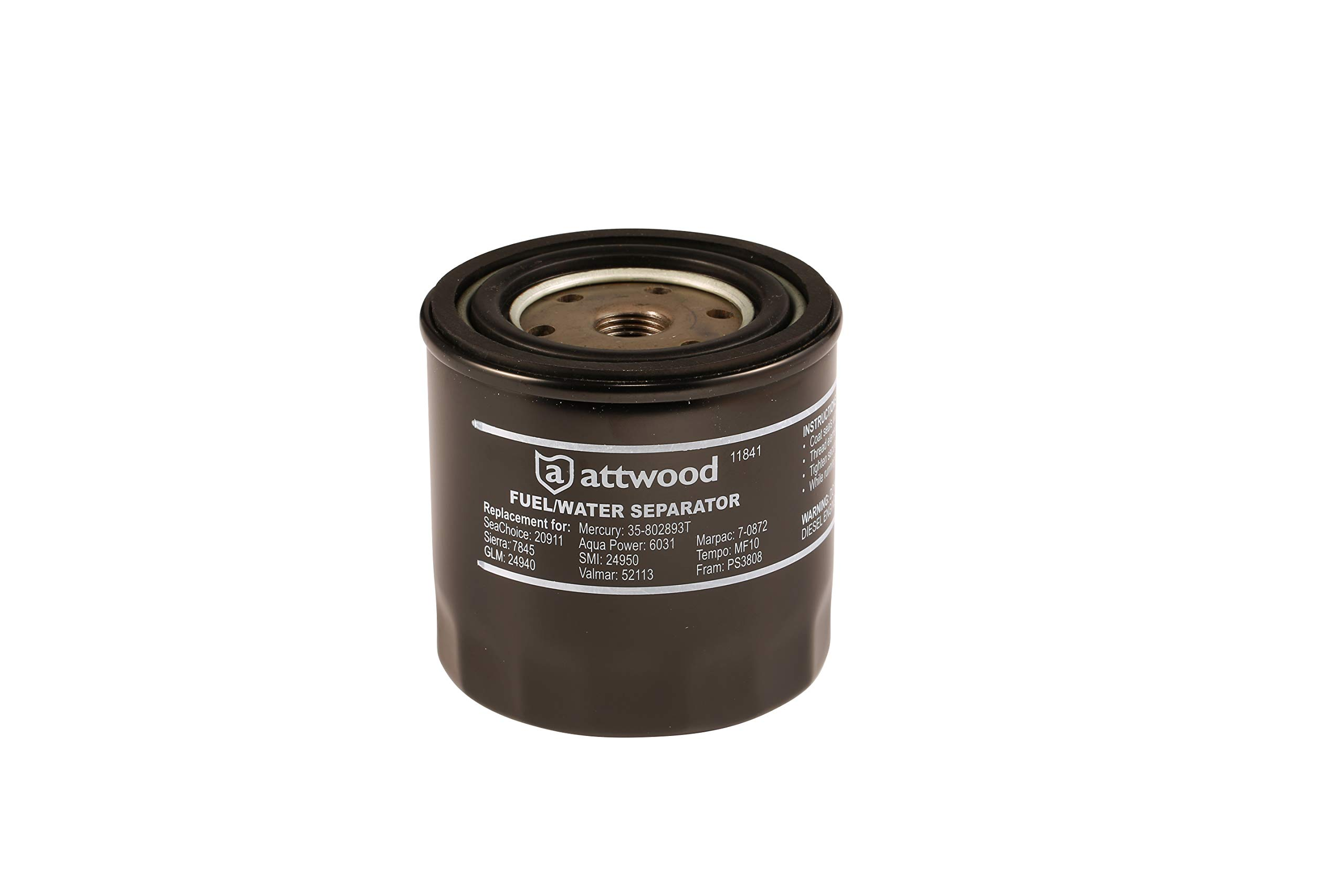 Attwood 11841-4 Universal 10-Micron Fuel/Water Separator Filter with Double Gasket, Black