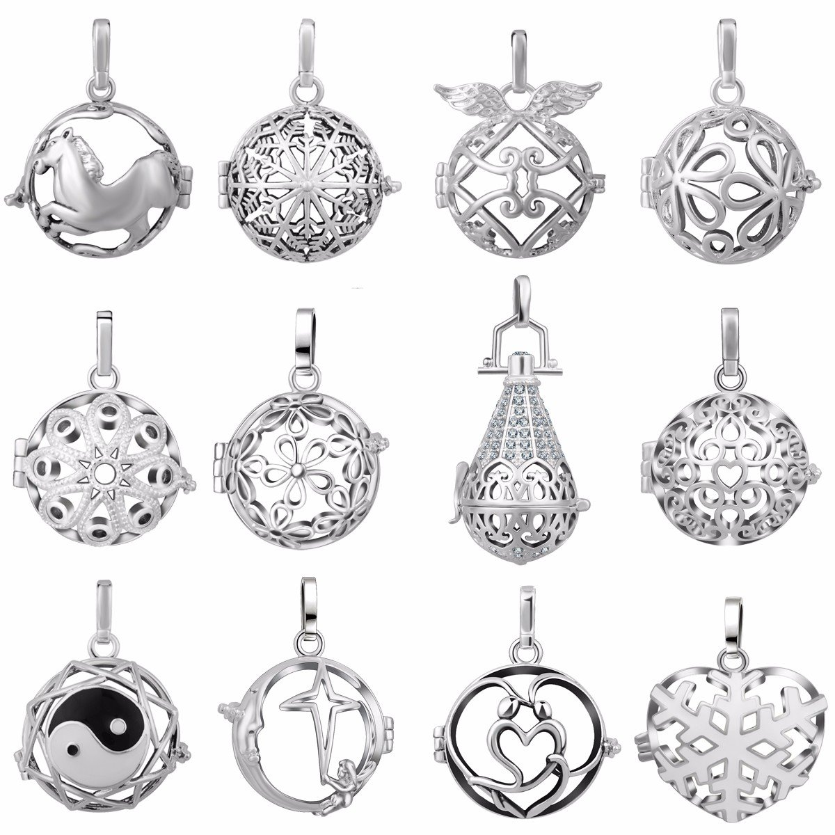 EUDORA 12pcs New Special offer Angel Chime Caller Silver Plated Lockets Pendant for 20mm Chime Ball