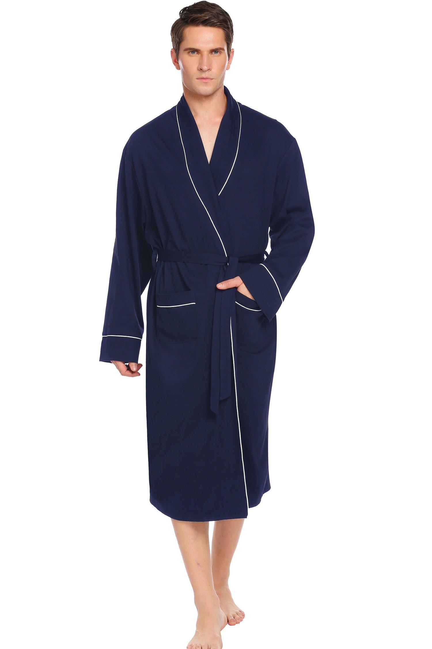 Ekouaer Robes, Lightweight Bathrobe Long Sleeve Robe Sleepwear (Navy, X-Large)