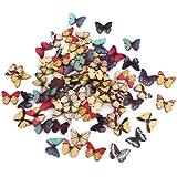 LEORX 100pz Bottone di Legno Farfalla Misti 2 Fori per Scrapbooking Cucito