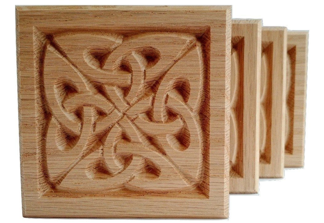 Set of 4:Carved Celtic''Quad Knot'' Rosette Blocks, Made in USA (3.5''x3.5'' RED Oak) by WagnerWood