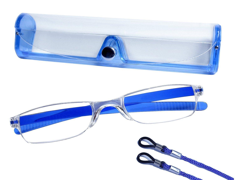 dy_mode Randlose Lesebrille Lesehilfe mit Etui und Brillenband von 1.00 bis 3.00 DPT - 6 Farben - LB006