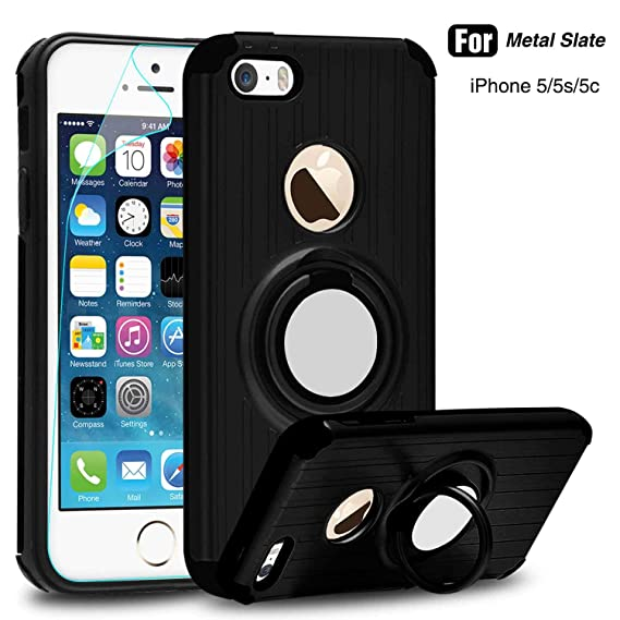 release date 81878 c3f83 iPhone 5S Case, iPhone 5 Case,iPhone SE Case with HD Screen Protector,Atump  360 Degree Rotating Ring Holder Kickstand Drop Protective Cover Phone Case  ...