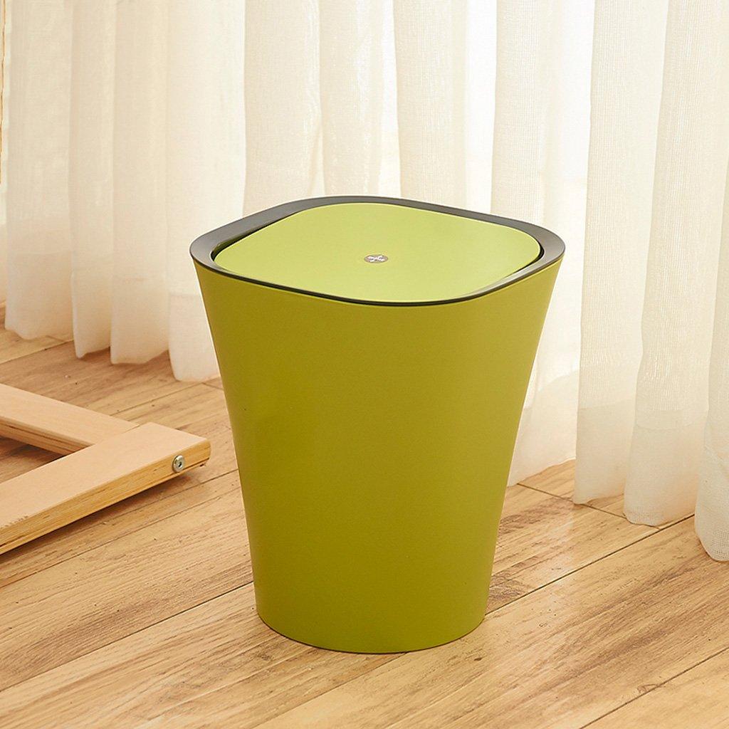 緑のプラスチックフリップごみ箱、クローズドスタイルのリビングルームの寝室のごみ箱 B07D4F88F6