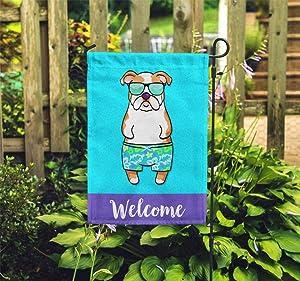 yyone English Bulldog Garden Flag (BOY) -, Special Vote Flag Sign, Quote Sign Flag, Garden Flag 28 X 40 Inches Outdoor Decor for Homes, Car