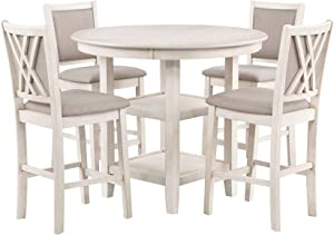 New Classic Furniture Amy Counter Dining Set, Bisque