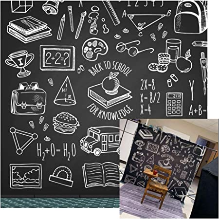 Haoyiyi 10x8ft Back to School Day Backdrop Blackboard Chalkboard Chalk Drawing Paintings Background Photography Photo Girls Child Student Cake Table Cake Smash Party Digital Decoration