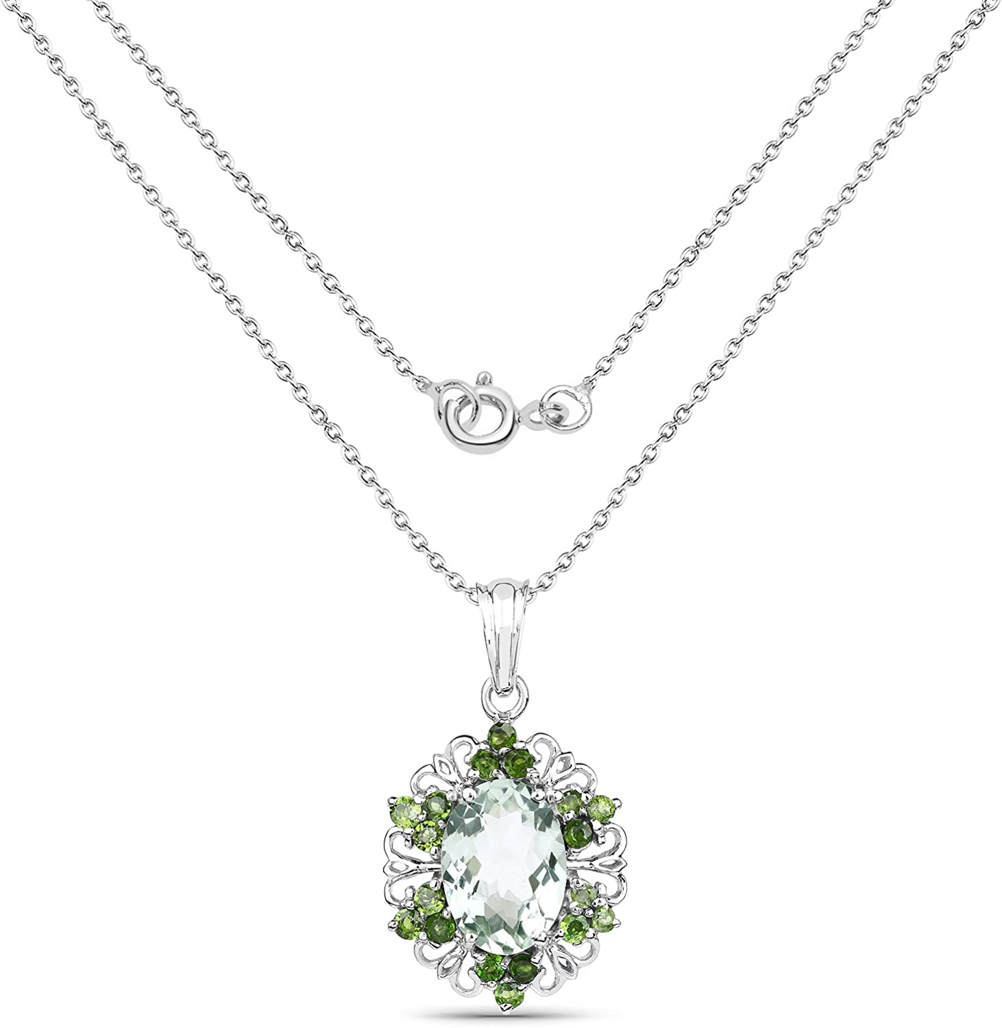 6.47 Carat Genuine Green Amethyst and Chrome Diopside .925 Sterling Silver Pendant