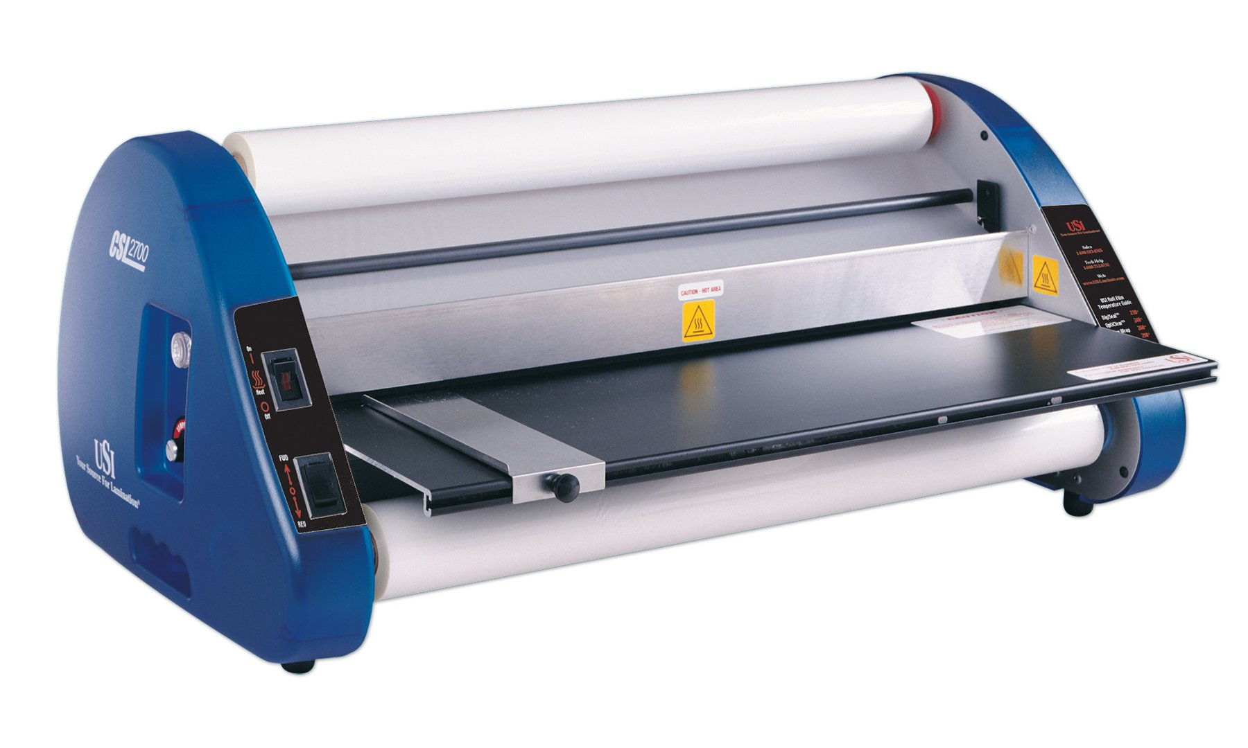 USI Thermal (Hot) Roll Laminator, CSL 2700, Laminates Films up to 27 Inches Wide and 3 Mil Thick, 1 Inch Core; UL Listed, 2-YEAR WARRANTY