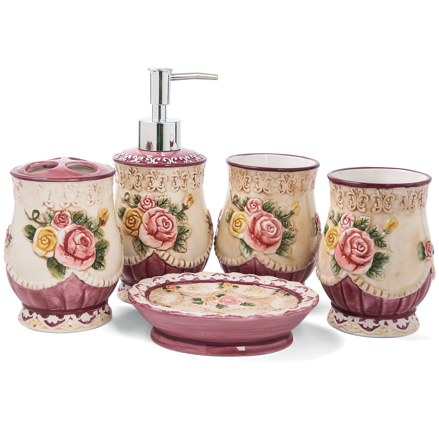 FORLONG Ceramic Bathroom Accessory Set Victorian Ceramic 5 Pieces Set,Including Toothbrush Holders,2 Gargle Tooth-Brushing Cups,Soap Dishes,Soap & Lotion Dispenser