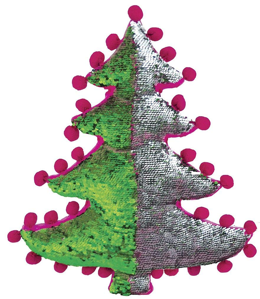 iscream Holiday Tree Shaped 16 Reversible Sequin Soft Fleece Back Accent Pillow The Mines Press Inc 780-1005