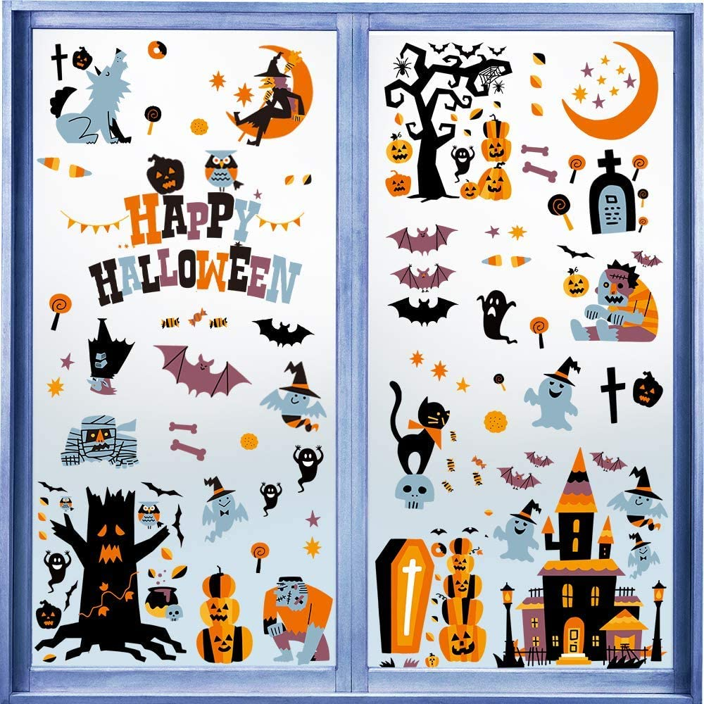 146 PCS Halloween Window Clings Decals for Window Glass Decorations Halloween Glass Decals for Party Decorations