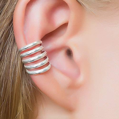 Chunky Stacking Earrings Ethical Jewellery Eco Sterling Silver Faux Helix Piercing Minimalist Cartilage Hoop Fake Ear Cuff Set