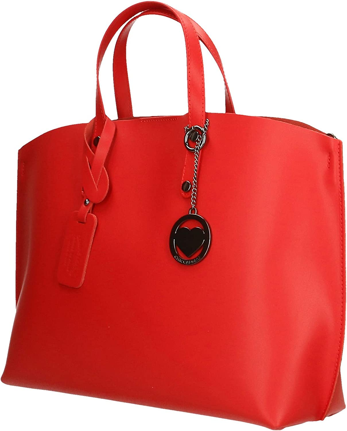 Chicca Borse Bag Borsa a Mano in Pelle Made in Italy 47x30x14 cm Rosso