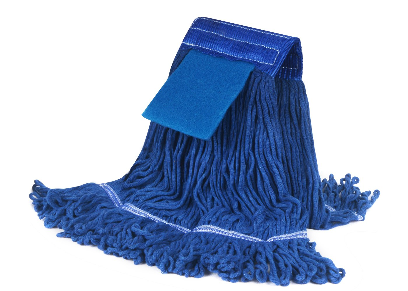 SUNLAND 16 oz Cotton Mop Head Industrial Grade Floor Cleaning Saddle Wet Mop Head Refill Home Commercial Mop Heads Replacement Blue