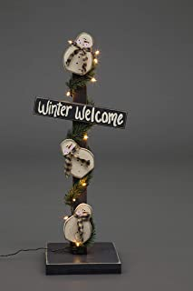product image for Primitive Christmas Decoration - Wooden Winter Welcome Lighted Snowman Post - Amish Made in USA