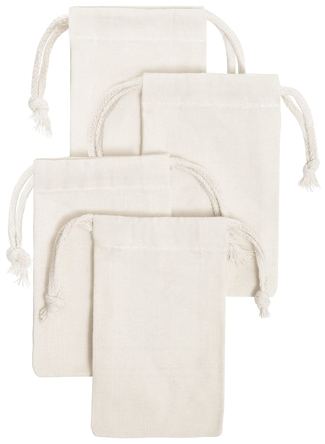100 Percent Cotton Muslin Drawstring Bags 24-Pack For Storage Pantry Gifts (2.75 x 3.5 inch (24 pack), White) SL178-9