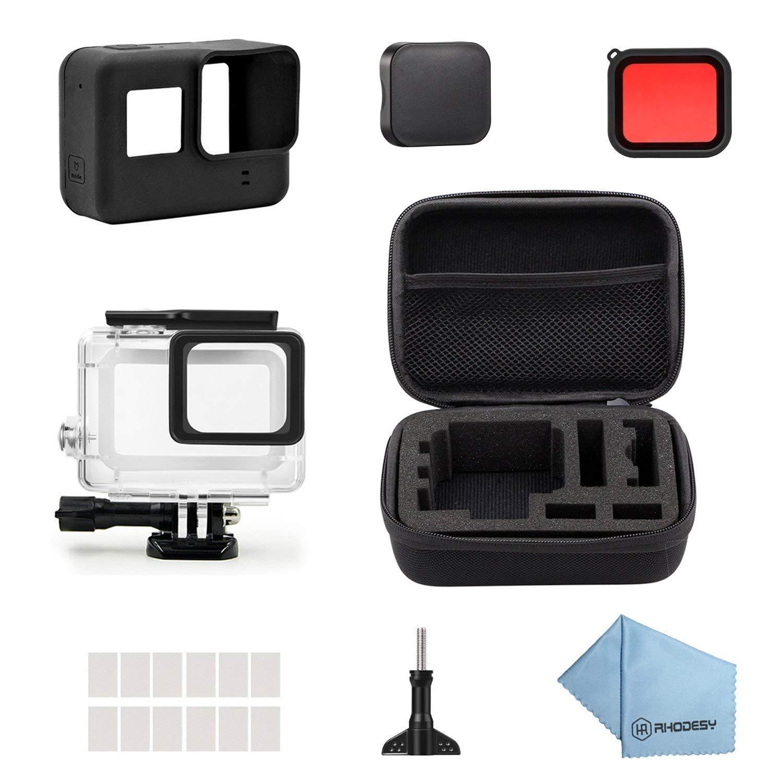 Rhodesy 19 in 1 Accessories Kit for GoPro Hero 7 Black Hero 6 Hero 5 Hero 2018 with 45M Underwater Housing Waterproof Case + Carrying case +Filter +Rubber Case for GoPro Hero7 Hero6 Hero5