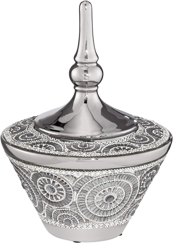 "Dahlia Studios Silver 10"" High Ceramic Decorative Jar with Lid"