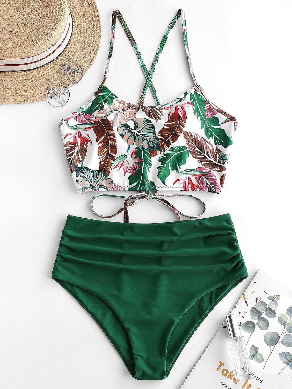 ZAFUL Damen Zweiteiliger Bikinis gepolsterter Badeanzug mit Blattdruck Schn/ür-Tankini Oberteil hochtaillierte Shorts gemischter Badeanzug