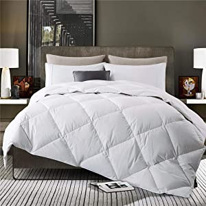 puredown Lightweight Goose Down Quilted Comforter Duvet Insert 100% Cotton Fabric, Full/Queen Size, White