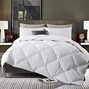 Puredown Comforter Lightweight Goose Down Quilted Duvet Insert 100% Cotton Fabric Size, White, Twin