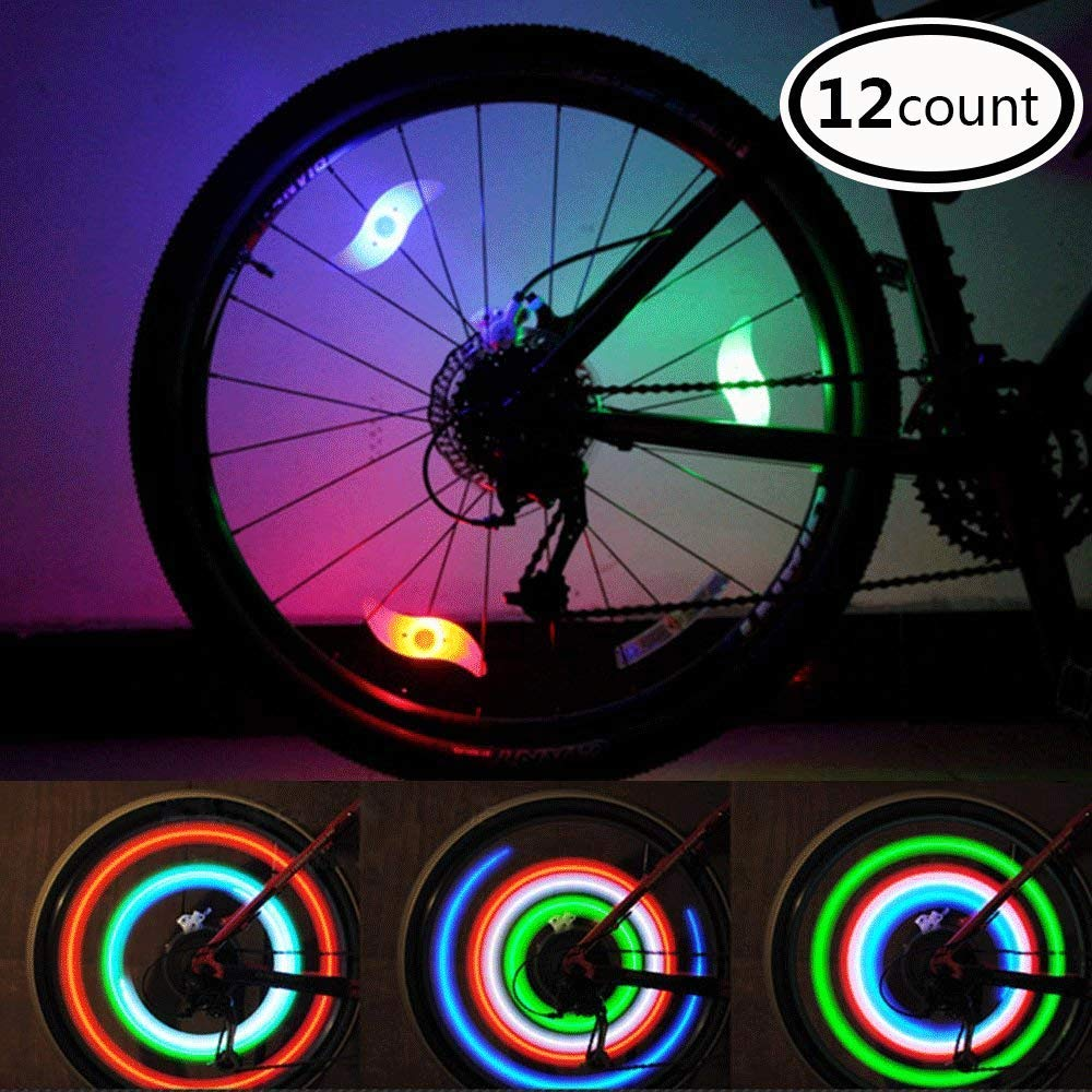 LeBoLike Bike Spoke Lights Cycling Bike Wheel Lights for Bicycle Decorations 12 Count – Bike Wheel Lights with Batteries Included