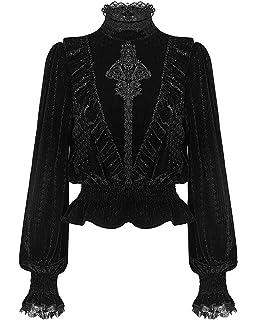 Punk Rave Womens Gothic Top Black Velvet Mesh Long Split Sleeve Witch Occult VTG