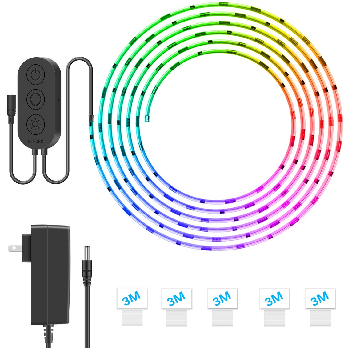 MINGER DreamColor LED Strip Lights, Smart Music Sync Light Strip Phone App Controlled Waterproof for