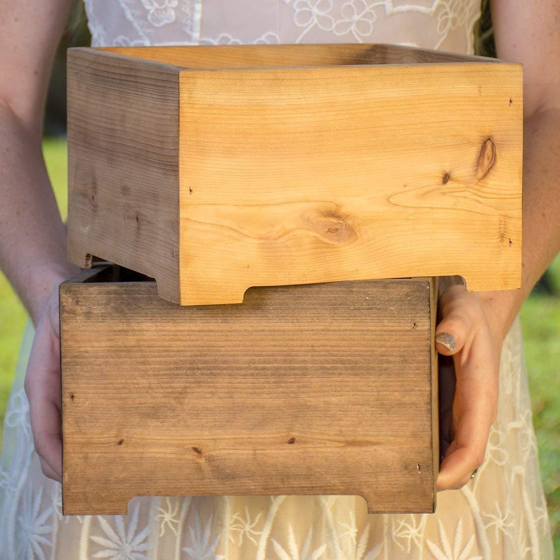 Rustic Wood Planter Box Wedding Centerpiece Vase Table Decor