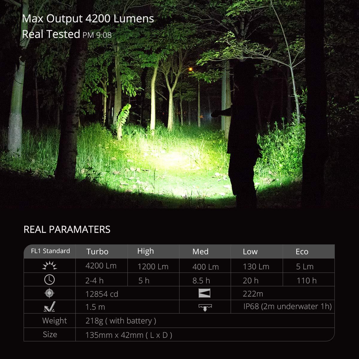 Linternas Led Alta Potencia Recargable 4200 L/úmenes,WUBEN T70 CREE XHP70.2 LED Blanco c/álido 5000K Impermeable Linterna Militar Tactica con 26650 bater/ía para Actividades al aire libre y acampar